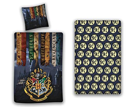 AYMAX S.P.R.L. Harry Potter - Juego de funda nórdica de 140 x 200 cm + funda de almohada + sábana bajera de...