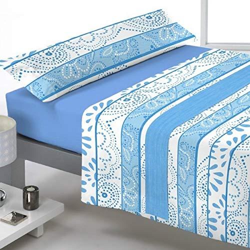 Reig Marti Juego DE SÁBANAS CORALINA, Modelo: CANDEAL, Color: 03 Azul, para Cama DE 150cm.