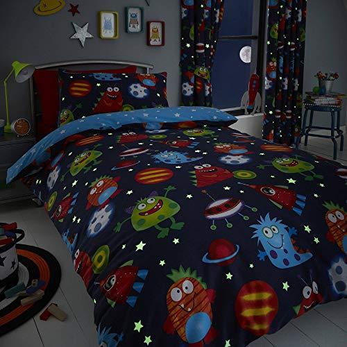Set de fundas infantiles para edredón - Reversible - Estampado del espacio - Brilla en la oscuridad - Azul -...