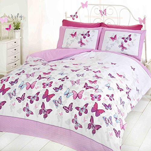 Mariposa Flutter - Edredón y funda de almohada - Rosa, para cama individual (135x200 cm, 50x75)