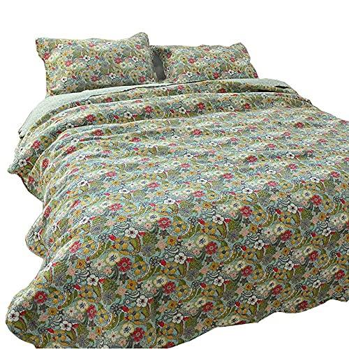 Colchas florales retro Colcha Doble King 230x250cm Funda de cama acolchada 100% algodón Decoración Manta de...